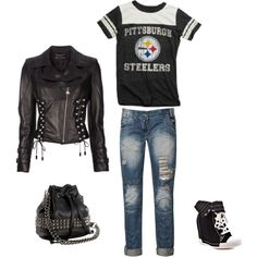 This is pretty much a perfect outfit. Go Steelers, Pittsburgh Steelers Football, Steelers Stuff, Football Outfits, Everyday Outfits, Style Me, Cool Outfits, Autumn Fashion, Fashion Accessories