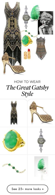 """Untitled #186"" by tanya-gosnell-brewer on Polyvore featuring Bulova and emeraldgreen Great Gatsby Fashion, 20s Fashion, The Great Gatsby, Womens Fashion, 20s Party, Gatsby Style, Bulova, Party Looks, Mix N Match"