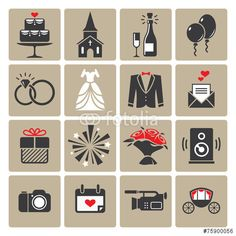 Wektor: Colored square wedding icons