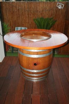 Wine Barrel Table | WINE BARREL BAR/BEER TABLE (indoors or outdoor) - Home & Garden for ...