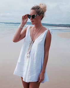 Drifter Jumpsuit Linen Romper Ladies Playsuit White Beach