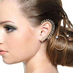 Gold-Celebs-Crystal-Rhinestone-Ear-Cuff-Wrap-Clip-On-Earring-Studs-Punk-Rock