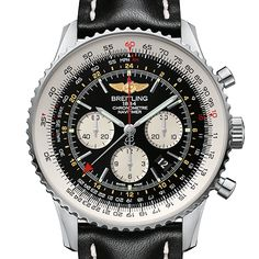 Navitimer GMT featuring Breitlings B04 in-house Caliber movement on a black leather strap. Available at Masseys Jewelers.