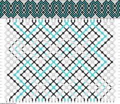 34 fils, 24 rangées, 3 couleurs. Résultat : un zigzag à la mexicaine.