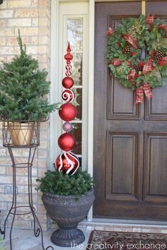 DIY Ornament Topiary {The Creativity Exchange} drill hole in ornament and place on dowels!
