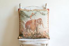 RESERVED. . . Vintage Tapestry Elephant & Camel Pillowcases Home Decor - Set of 2