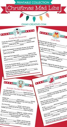 Lots of family fun with these 4 Christmas Carol Mad Libs Printables! | http://OHMY-CREATIVE.COM
