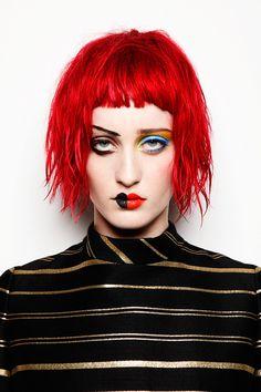 Half Done Face Makeup, Lipstick, 60s Hair Wigs, Mascara running, Stylist France Beauty Editorial Enya Bakunova