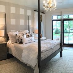 Master. Yes we were inspired by the check wall from @southernlivingmag for the master with shiplap ceilings #eauclaireWI #paradeofhomes #hollymathisinteriors  open all week!!!