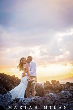 Maui Sunset Wedding on the rocks by Photography by Mariah Milan www.mariahmilan.com
