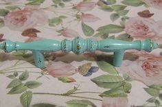 Shabby Vintage Chic Aqua Cabinet Drawer Pull Handle Victorian Beach Distressed | eBay