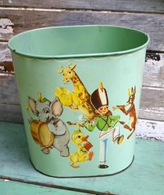 Adorable Vintage Nursery Waste Basket by CampHobachee on Etsy