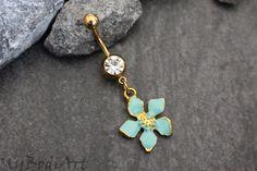 Mint Flower Belly Ring