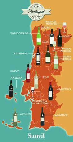 Map of the Wine Regions of Portugal - Portuguese Wine Map Wine Education, Portuguese Recipes, Portuguese Food, Italian Wine, In Vino Veritas, Portugal Travel, Map Of Portugal, Wine Time, Wine And Beer