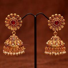 Anvis bridal pearl and rubies floral jhumkas