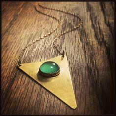 """Green Onyx Shield Pendant #benchwork #berylbysweetbella #instajewelrygroup #instsmithy #boho #shopsmall #shoplocal"""