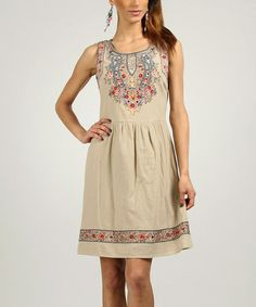 Sand & Blue Embroidered Sleeveless Dress by Peace and Love on zulily.com