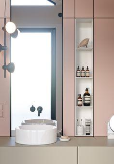 "TOL'KO / ""KIDS FLOOR"" in Osko Village on Behance Narrow Bathroom, Modern Bathroom, Master Bathroom, Vanity Bathroom, Bathroom Art, White Bathroom, 1950s Bathroom, Bathroom Cabinetry, Minimalist Bathroom"