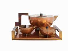 Bauhaus Dessau Metallwerkstatt, 4-Piece Tea Set, around 1924