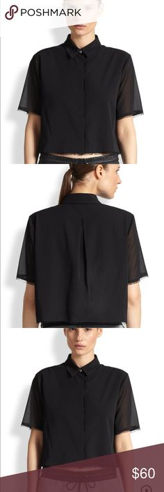 Alexander wang stretch silk cropped shirt Bought from saks for 325.The material is silk/spandex and the buttons are concealed. The arms and bottom have intentional fraying.  Size 0 so it will fit xs-small. Not too stretchy of a material so i would only suggest for size small . T by Alexander Wang Tops Button Down Shirts
