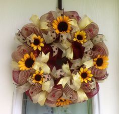 """22"""" Rust and Burlap Deco Mesh Wreath with Sunflowers, Ribbons and Lady Bugs"""