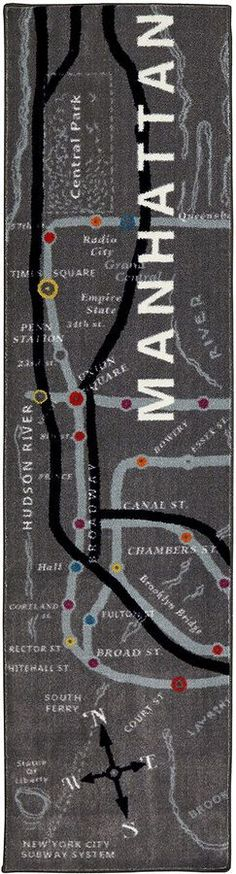 Mohawk Home Aurora Manhattan Map Rectangular Runner