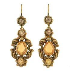 For Sale on - Absolutely stunning citrine earrings from the Victorian era! These wonderful earrings are made of yellow gold and detailed with citrines Citrine Earrings, Gold Jewelry, Dangle Earrings, Victorian Gold, Victorian Jewelry, Art Nouveau, Gothic, Gold Set, Vintage Earrings