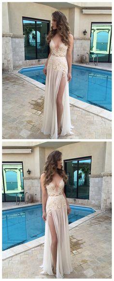 Beach wedding dresses, Beach wedding gown, lace prom dresses, chiffon prom dresses, Long prom dresses, sexy prom dresses, 17148