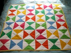 Crayon box quilt tutorial. Start with squares. Simple! Alternate slightly simpler idea as well.