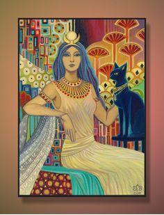 Bast Egyptian Cat Goddess ACEO ATC Altar Art. $3.00, via Etsy. EmilyBalivet