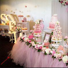 Custom Floral Tulle Table Skirt- Party Birthday Wedding Candy Table Skirt