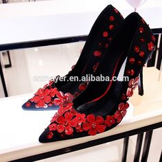 Latest brand new women genuine leather stiletto shoes Sexy pointed toe fashion new style high heel shoes with applique