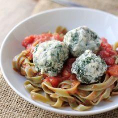 Spinach Swiss Chard Ravioli Nudi over simple tomato sauce.