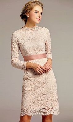 lace white dress with a hint of pink...this would be really cute to where for a wedding as a guest