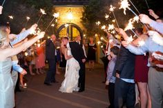 Sparkler wedding departure. M. Elizabeth Events