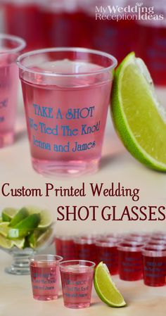 Serve your signature wedding shot drinks in clear plastic 2 ounce shot glasses personalized with a wedding design or monogram and up to 3 lines of custom print on the front and back. Guests can take their shot glass home as a souvenir of your wedding day. These shot glass favors can be ordered at  http://myweddingreceptionideas.com/2_oz_personalized_clear_plastic_shot_glasses.asp