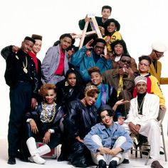 "Hurby ""Luv Bug"" Azor and the Idolmakers Posse: Salt-n-Pepa, Kid and Play, Dana Dane, Sweet Tee, Antoinette, Non Stop, Steevee-O, Clark Kent, Ron Won, Prince Sundance, and Candy, New York City, 1989"