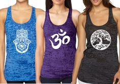 Yoga Tank Top - Burnout Racerback Pack of 3 (Large, 2d Pack). Burnout Tank Tops. Cool, comfortable. Yoga Racerback. Package Deal is for 3 yoga tank tops. 55% Cotton, 45% Polyester.