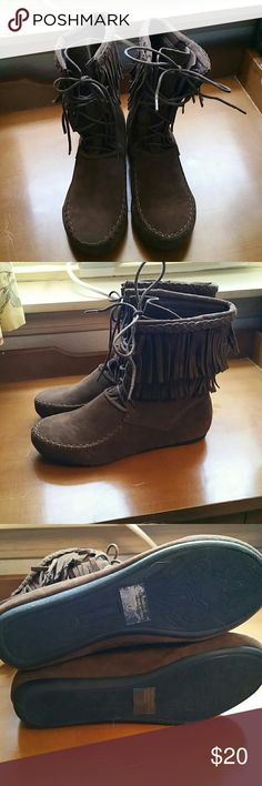 Fringe boots Mid calf fringe boots. These are not leather, not sure what they are made of. Worn once or twice. Basically brand new. forever  Shoes Ankle Boots & Booties