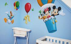 Disney kinderkamer muurschildering gemaakt door BIM Muurschildering. Disney mural painting, Donald Duck, Goofy, Pluto, Mickey Mouse, Minnie Mouse