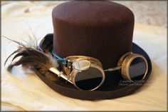 steampunk top hat with goggles | My completed top hat and painted steampunk goggles!