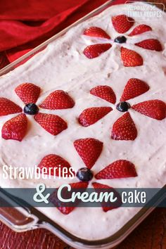 Strawberry Cream Cheese Frosting 16 oz cream cheese softened c. fresh strawberries blended 2 c. powdered sugar 1 c. cool whip thawed Strawberries and Cream Cake is a great summer dessert, loaded with fresh strawberries in both the cake and frosting! Strawberry Cream Cheese Frosting, Strawberry Cream Cakes, Strawberry Cake Recipes, Strawberries And Cream, Strawberry Filling, Köstliche Desserts, Delicious Desserts, Dessert Recipes, Calories