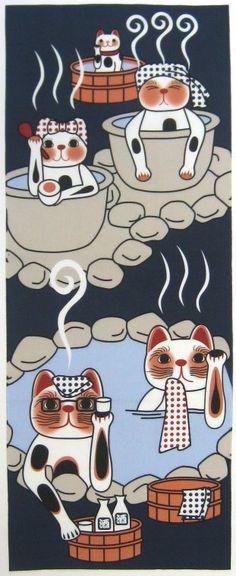 捺染:福招き猫 温泉
