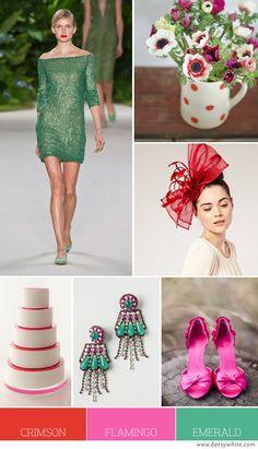 Crimson, Flamingo and Emerald