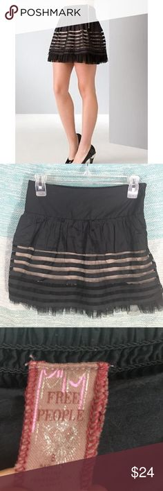 "Free People Black Striped Layered Mesh Skirt Zip Excellent used condition, without flaws. Zips up the side with elastic in the back for a comfortable fit. Mini skirt with several layers. 15"" long, 28"" waist before Stretch. Free People Skirts Mini"