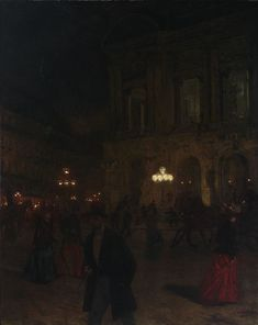 Aleksander Gierymski (Polish, Paris Opera by Night, 1891 Oil on canvas, 161 x cm Dark Paradise, Night Aesthetic, Aesthetic Art, Renaissance Kunst, Art Database, Classical Art, Nocturne, Old Art, Pretty Art