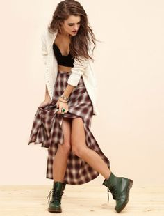 90s grunge plaid maxi skirt with dr marten boots