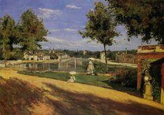 Terrace on the Banks of the Seine at Melun c. 1880 - Henri Stanislas ROUART, Oil on canvas, 47 x 66 cm Musée d'Orsay, Paris