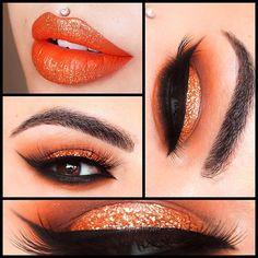 Eyes: @Sugarpill 'Flamepoint' Eyeshadow. @Anastasiabeverlyhills 'Copper Shimmer, Sienna, Beauty Mark, Noir & Orange Soda' eyeshadows. @shopvioletvoss 'Copperella' Glitter. Brows: @Anastasiabeverlyhills 'Chocolate' Dipbrow Liner: @Anastasiabeverlyhills Waterproof creme colour 'Jet' Lashes: @flutterlashesinc 'Trinity' Lashes Lips: @Meltcosmetics 'Bang!Bang!' with @shopvioletvoss 'Copperella' Glitter.