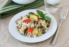 Israeli couscous salad with roasted vegetables at two peas and their pod